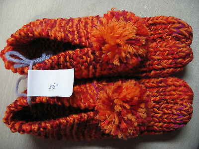 Amish Handmade Knit Slippers Bright Orange Mix Womans Sm/Med Mans X Sm 8 1/2""