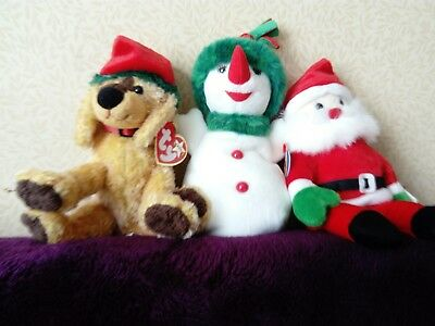 Ty Beanie Babies Jinglepup, Santa And Snow Lady Set