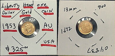 AS SHOWN A $1 Liberty Head 1853 LUSTROUS  PRE CIVIL WAR OLD GOLD Coin--SELL $259