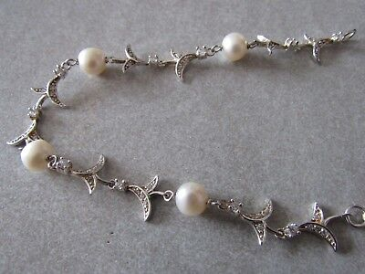 Quality solid sterling and fresh water pearl bracelet
