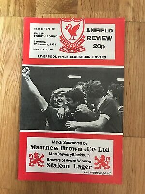 Liverpool V Blackburn Rovers Programme 27th January 1979