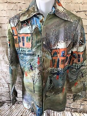 Vintage Chagal Men's Shirt Sz M Disco Art Deco 70's Spread Collar Polyester
