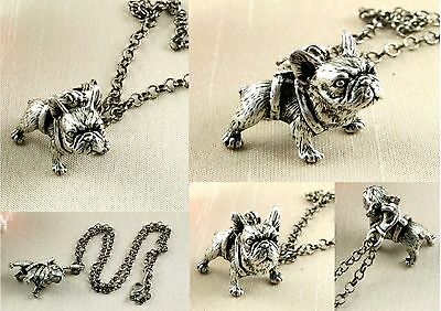 Antique Silver Plated French Bulldog Pendant Necklace 3D Dog - In Gift Pouch
