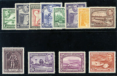 British Guiana 1938 KGVI set complete superb MNH. SG 308a-319. Sc 230-241.