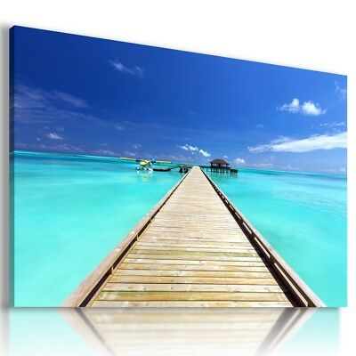 BEACH SEA PIER SUNSET Perfect View Canvas Wall Art Picture Large L300 MATAGA .