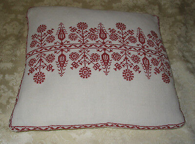 Vintage  White cotton  Pillow  with red embroidery