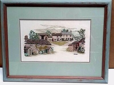 Hand Embroidered Petit Point Needlepoint Framed Picture of Country Cattages