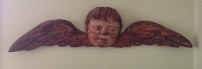 Antique 18Th C Italian Hand Carved Polychrome Painted Angel Pediment