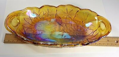"Carnival Glass 9"" Lilyponds Relish Bowl"