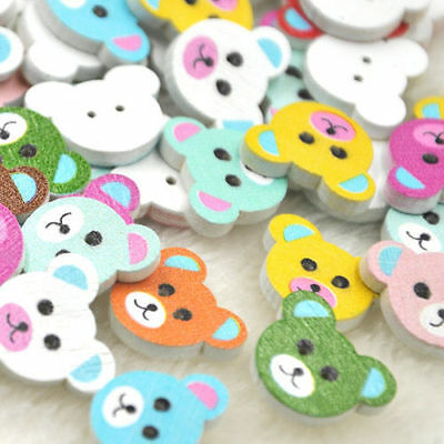 50 pcs Mix Wood Buttons Baby Bear Head Sewing Craft 2 Holes WB291