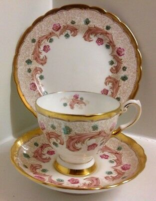 Lovely Tuscan Pink & Patterned  English Bone China Tea Set Trio