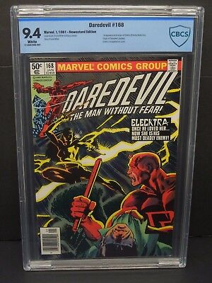 MARVEL DAREDEVIL #168 1981 CBCS 9.4 WHITE PAGES NEWSSTAND UPC 1st ELEKTRA