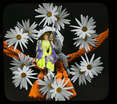 Original Colored Magic Lantern Glass Slide Vintage 1912 Surreal Photomontage