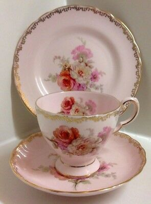 Lovely Tuscan Pink & Floral English Bone China Tea Set Trio