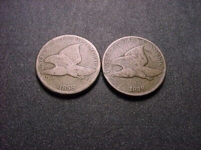 Pair Of Flying Eagle Cents - 1858 Small & Large Letters!