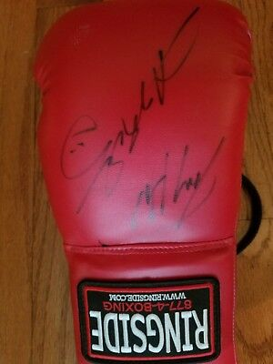 Sugar Ray Leonard Larry Holmes signed autographed boxing glove