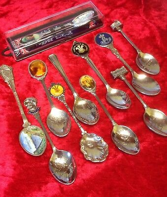 Collection / Job Lot  of Commemorative Collectors spoons Mostly Royalty