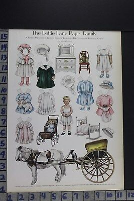 1910 Toy Lettie Lane Paper Doll Children Wedding Fashion Vintage Print Ee068
