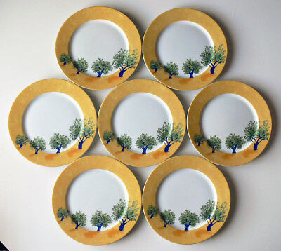"""7 GUY DEGRENNE Hungary OULIVEIRO olive tree 10-3/8"""" DINNER PLATES no reserve!"""