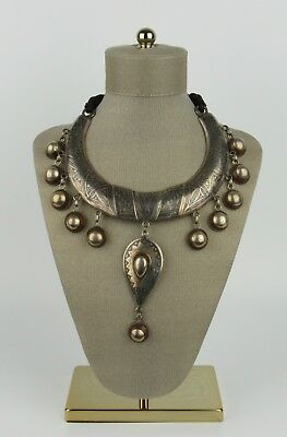 Large Vintage Ethnic Silver & Niello Collar Necklace with Copper & Wood Accents