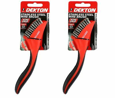 Dekton 2 x Soft Grip  Stainless Steel Metal Wire Brush Ideal for Rust Removal