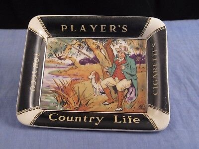 Players Antique Country Life Fisherman Fishing Tobacco Cigarette Ashtray 1936