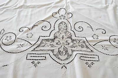 Antique Embroidered Top of Bedspread Vintage CUTTER White Lace 88x40""