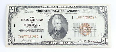 Series Of 1929 U.s. $20 National Currency Note From Minneapolis Mn No Reserve