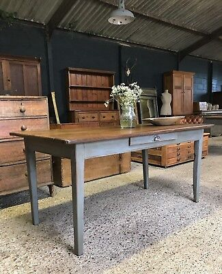 Antique French Oak Country Farmhouse Kitchen Dining Table