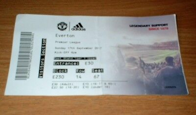 MANCHESTER UNITED v EVERTON PREMIER LEAGUE FOOTBALL TICKET 17/9/2017 - Used stub
