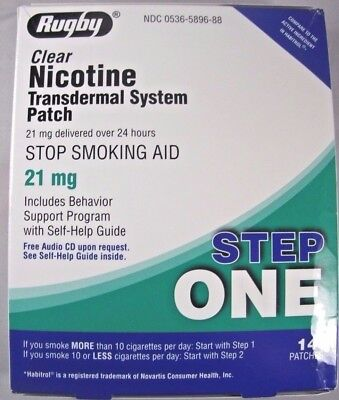 Rugby Step1- Stop Smoking Aid Patch Clear Nicotine Transdermal System 21mg, 14ct