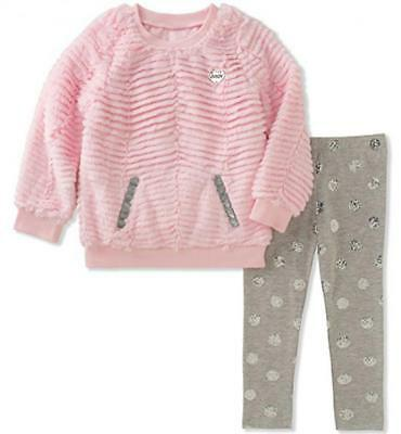 Juicy Couture Girls Pink Fluffy Sweater 2pc Legging Set Size 2T 3T 4T 4 5 6 6X