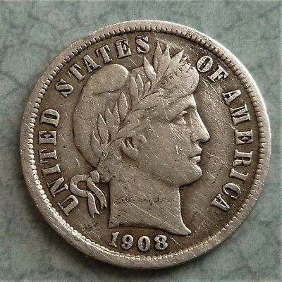 1908 U.s.a Barber Silver Dime , Very Nice Detailed Coin