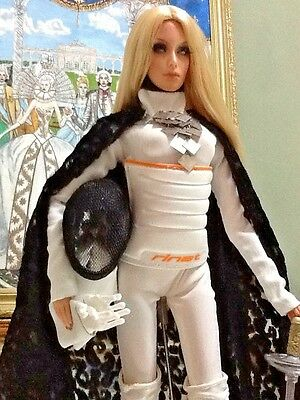 OOAK Fencing White Outfit custom hand made for Sybarite, SUPERDOLL, SUPERFROCK