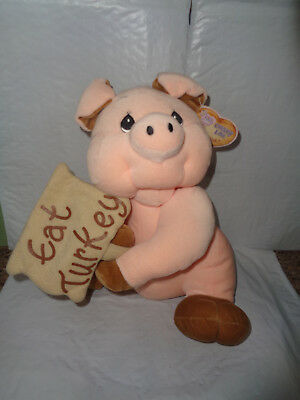 "NWT Precious Moments /Tender Tails - The Pig - ""Eat Turkey"" Plush - Country Lane"