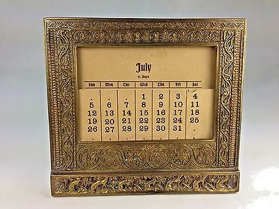 Antique Rare Tiffany Studios Venetian Brass Calender Holder & Original Calendar
