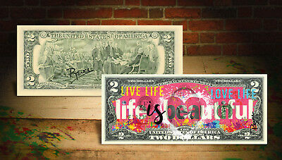 LIFE IS BEAUTIFUL Pink Heart Official $2 U.S. Bill HAND-SIGNED Rency ART Banksy