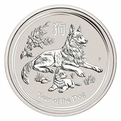2018 Year of the Dog 1/2 oz Silver Coin   Perth Mint Lunar Series II