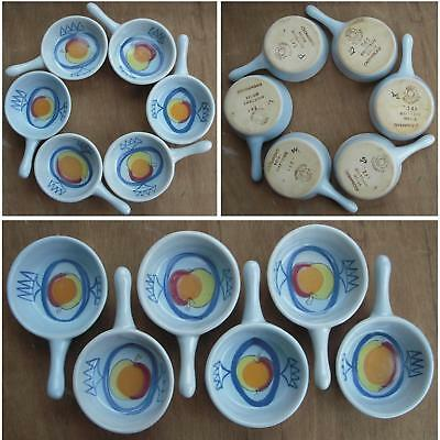 Set of 6 Vintage Buchan Stoneware Pottery Apple Dishes Handle Ramekin Pan M6.154