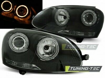Coppia Fari Fanali Anteriori Tuning VW Golf 5 V 2003 >2008 Fondo Nero ANGEL EYES