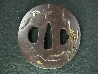 Japanese Antique Samurai Sword Forged Iron Tsuba  Shakudo (Raised Gold / Silver)