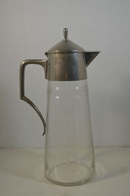Vintage WMF Wurttembergische  Metallwarenfabrik Pewter and Etched Glass Pitcher