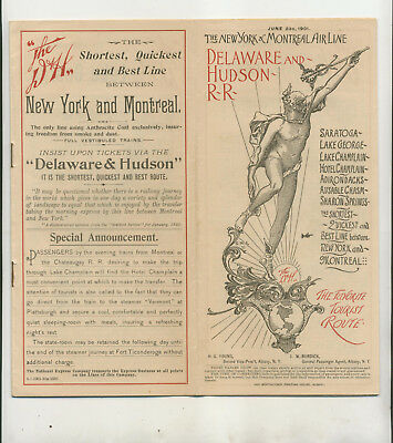 1901 Delaware Hudson Rail Road New York Montreal Air Line Time Table Info Maps