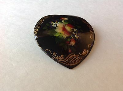 Vintage Russian LAQUERED HEART signed Brooch Hand  C Clasp Brooch
