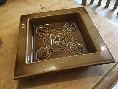 Holkham pottery large square dish embossed with fish