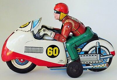 Ducati Racing Motorcycle #60 W/driver Tin Lithographed Friction Toy T.n. Nomura