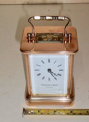 Vintage Thwaites & Reed Brass Carriage clock with bevelled glass windows