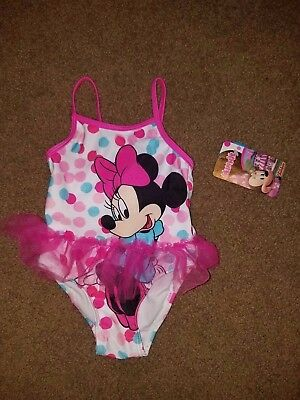 NWT Girls 24 Month Disney Minnie Mouse Swimsuit, Pink Skirt