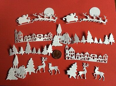 Lovely Selection small Christmas Scene die cuts,16 cuts in WHITE Or BLACK