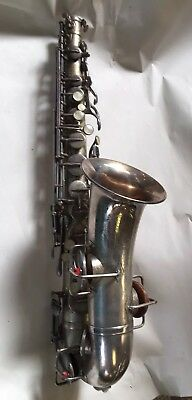 The Buescher Aristocrat True Tone Saxophone Low Pitch Silver Plated W/ Hard Case